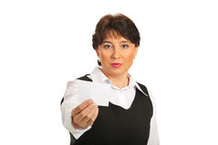 Business woman offering visiting card Stock Photos