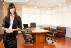 Business woman in the office. Young successful business woman in the office Stock Image