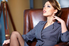 Business woman in an office Royalty Free Stock Images