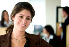 Business woman in an office Royalty Free Stock Photos