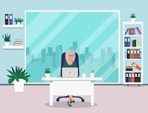 Business woman in office. Beautiful woman sitting at work in office. Vector illustration stock illustration