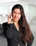 Business woman at office on cell phone. Pretty business woman on cell phone at office Stock Photography