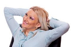 Business woman in the office chair Royalty Free Stock Images