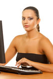 Business woman at office desk Stock Images