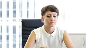 Business woman in office , emotions at work stock footage