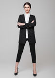 Business Woman office fashion girl in black suit Stock Photography