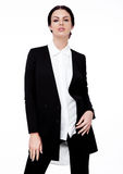 Business Woman office fashion girl in black suit. Shot in studio on white background royalty free stock images