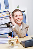 Business woman in office with files Stock Photo