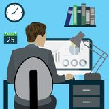 Business woman at the office, flat design. Business man or office worker sitting on a chair at the desk in the office,back view, flat design, cartoon stock Stock Photography