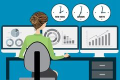 Business woman at the office, flat design. Business woman or office worker sitting on a chair at the desk in the office and working for three monitors,back view Royalty Free Stock Images