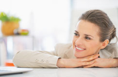 Business woman in office looking on copy space Stock Images