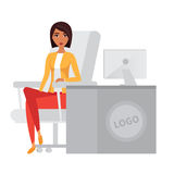 Business woman, office manager at computer desk. Vector character. Royalty Free Stock Image