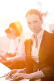 Business woman at  office people group on meeting  in background Royalty Free Stock Photography