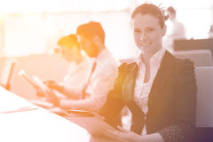 Business woman at  office people group on meeting  in background Royalty Free Stock Image