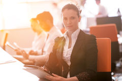 Business woman at  office people group on meeting  in background Stock Images