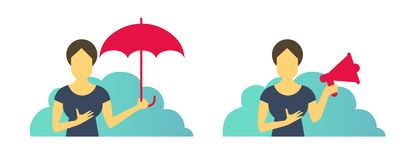 Business woman office set of situations. With umbrella protection and with loudspeaker. Advertising and laptop. royalty free stock image