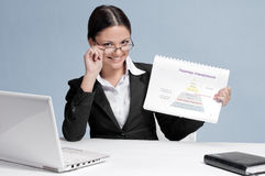 Business woman in office show chart Stock Photos