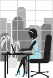 Business woman in office silhouette. Illustration stock illustration