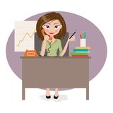 Business woman in office. A vector illustration of a businesswoman working in the office Stock Images