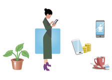 Business woman, office worker, employee, manager. Isolated on white. Business Icons. Business design. Vector illustration. Stock Image
