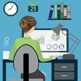 Business woman or office worker sitting on a chair. At the desk in the office, back view, flat design, cartoon vector illustration Stock Photos