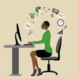 Business woman or office worker working at a computer. African american Business woman or office worker working at a computer, Internet communication,vector Stock Photo