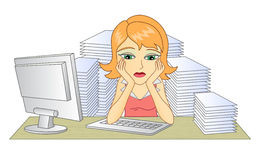 Business woman. In office. In the workplace. Thinking woman. A pile of documents. Frustrated and tired woman. Vector illustration Stock Image