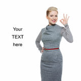 Business woman with ok gesture Royalty Free Stock Photos