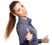 Business woman with ok hand sign Royalty Free Stock Photography