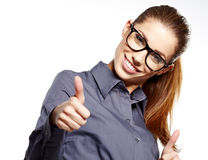 Business woman with ok hand sign. Happy smiling business woman with ok hand sign Royalty Free Stock Photography