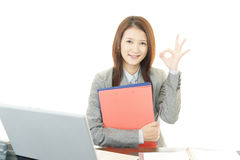 Business woman with ok hand sign Stock Photos