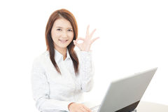 Business woman with ok hand sign Royalty Free Stock Photos