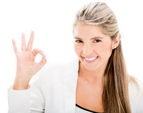 Business woman with an ok sign Stock Image
