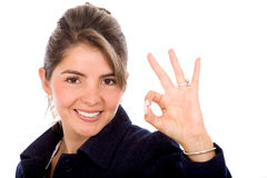 Business woman ok sign Royalty Free Stock Image