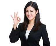 Business woman ok sign Stock Images