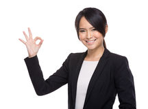Business woman with ok sign Stock Photos