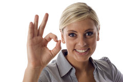 Business woman with an okay sign Stock Images