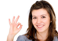 Business woman - okay sign Stock Images