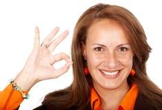 Business woman okay sign Stock Photos