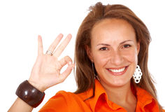 Business woman okay sign Royalty Free Stock Photos