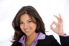 Business woman okay sign Stock Photos