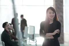 Free Business Woman On Blurred Background Office Royalty Free Stock Image - 106982216