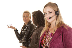Business woman one with headset Stock Image