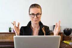 Free Business Woman Online Student Teacher Coach Psychologist, Video Call On Laptop By Webcam Learn Teach Online Webinar Stock Images - 185245014