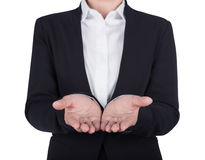 Business woman open hand holding something isolated on white bac Stock Photo