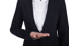 Business woman open hand holding something isolated on white bac Stock Image