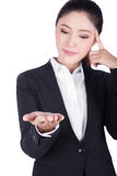 Business woman open hand holding something and thinking Stock Images