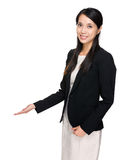 Business woman with open hand palm Stock Photography