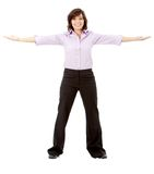 Business woman with opened arms Royalty Free Stock Images