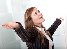 Business woman with opened arms Stock Photo